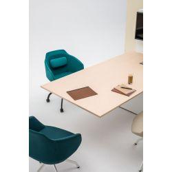 Chaise de réunion design réglable en hauteur avec piétement étoile en polyamide noir avec roulettes Sandy