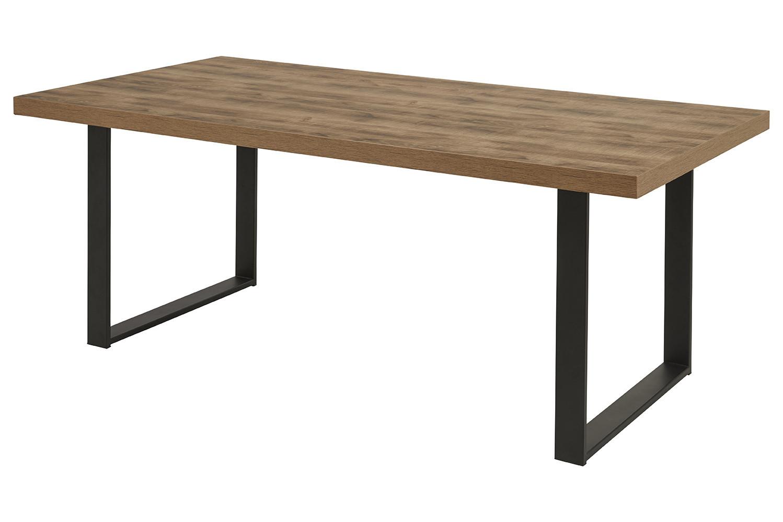 Table de salle à manger industrielle chêne/noir Nessie