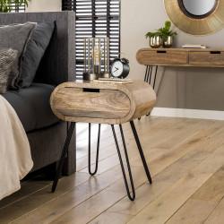 Table de chevet moderne en bois de manguier et métal Chloé
