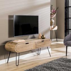 Meuble TV moderne en bois de manguier et métal Chloé