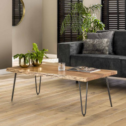 Table basse moderne en bois d'acacia et métal Marius