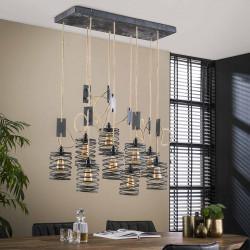 Suspension industrielle en métal 9 lampes Eddyn