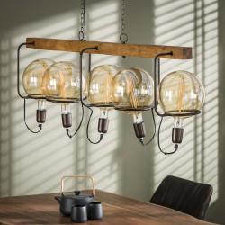 Suspension industrielle en bois et métal 5 lampes Justine