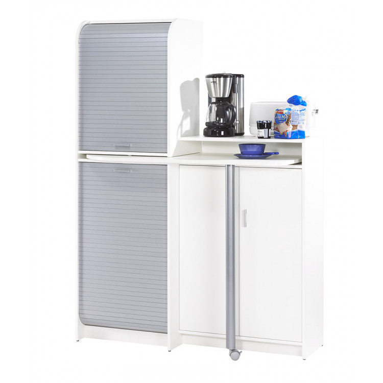 Meuble de cuisine à rideau modulable contemporain blanc/gris Snack