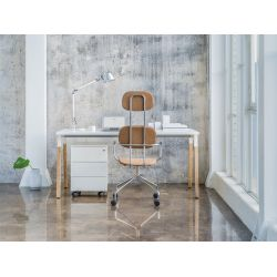 Chaise de bureau moderne à roulettes avec revêtement tissu Alban
