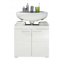 Meuble sous lavabo de salle de bain design blanc brillant Savana