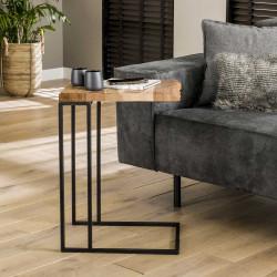 Table d'appoint industrielle en métal noir et bois d'acacia Carolina
