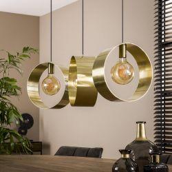 Suspension industrielle en métal doré 3 lampes Hugo