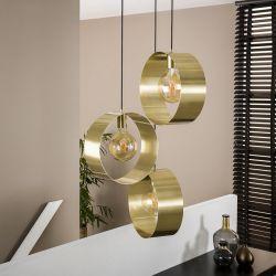 Suspension industrielle en métal doré 3 lampes étagées Hugo