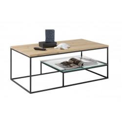 Table basse industrielle noir/chêne Monalisa