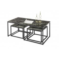 Table basse industrielle métal et verre noir (lot de 3) Claudia