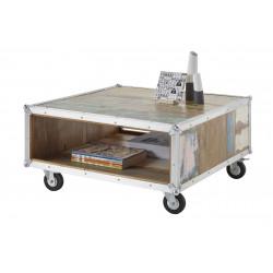 Table basse industrielle mobile en bois laqué Ulysse
