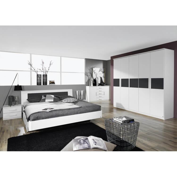 commode design blanche 2 portes 5 tiroirs carcassonne matelpro. Black Bedroom Furniture Sets. Home Design Ideas