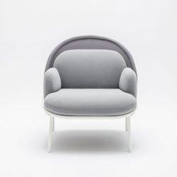Fauteuil moderne d'accueil avec dossier bas et assise gris Luna