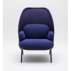 Fauteuil moderne d'accueil avec dossier medium et assise bleus foncés Luna