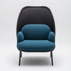 Fauteuil moderne d'accueil avec dossier medium graphite et assise turquoise foncé Luna