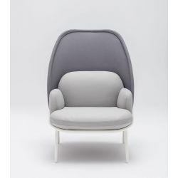 Fauteuil moderne d'accueil avec dossier medium et assise gris Luna