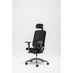Fauteuil de bureau moderne avec appui-tête et assise noirs Rosaly