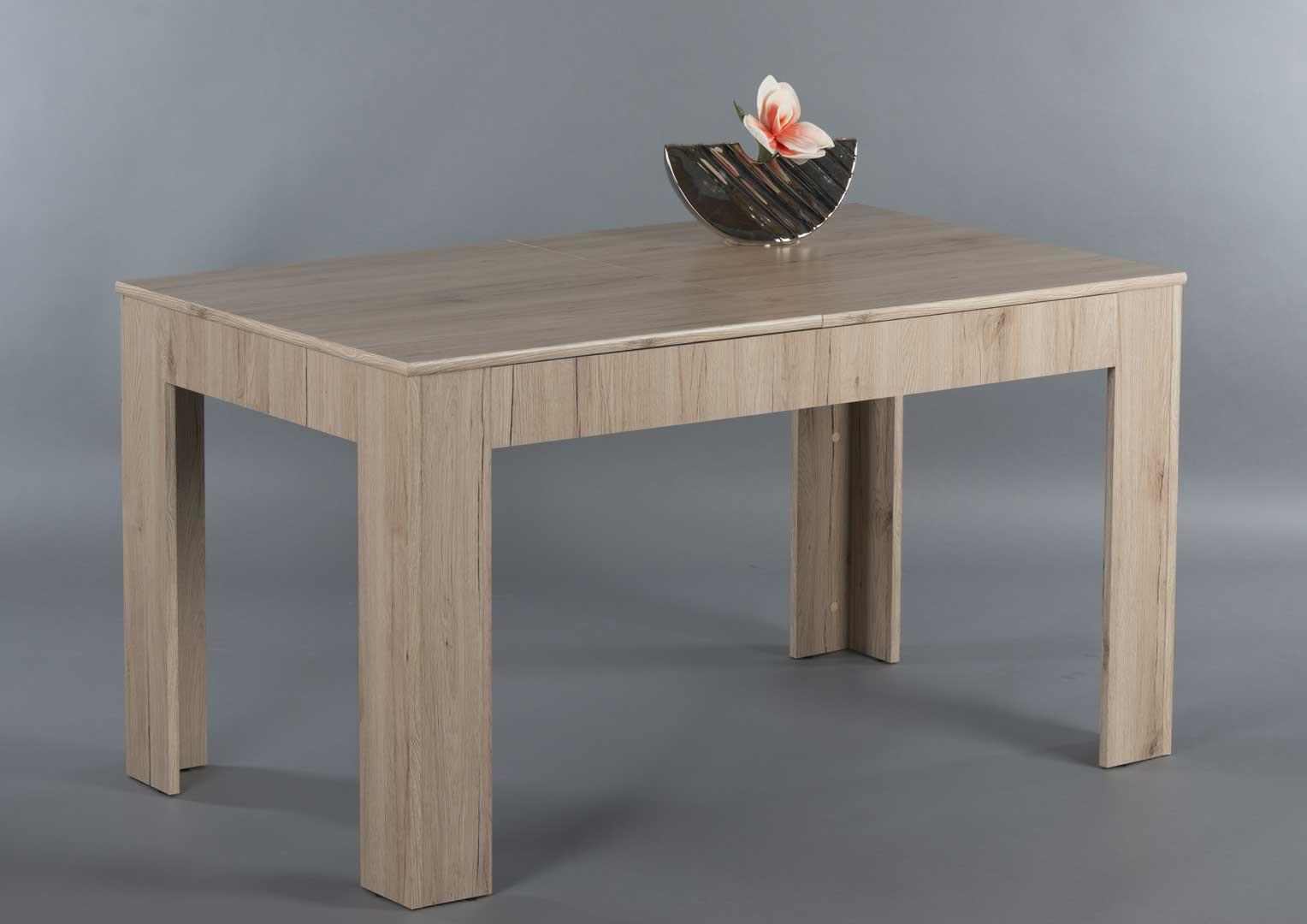 Table de salle à manger extensible contemporaine chêne clair Florine