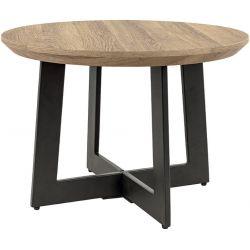 Table basse industrielle ronde en bois et métal noir Aaron