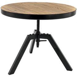 Table basse ronde industrielle réglable en bois et métal Anna