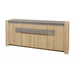 Buffet/bahut contemporain 215 cm chêne/gris Isabella
