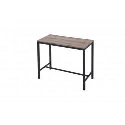 Table haute de cuisine industrielle chêne/noir Catheline