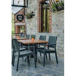 Fauteuil de restaurant moderne pour extérieur (lot de 4) empilable en polypropylène Jason