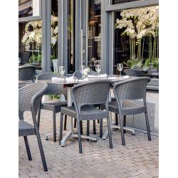 Chaise d'extérieur (lot de 4) empilable en polypropylène coloris gris foncé Jade