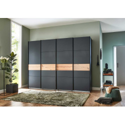 Armoire adulte moderne portes synchronisées 270 cm graphite/chêne Joyce