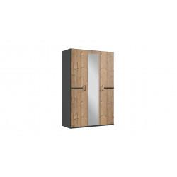Armoire adulte contemporaine 135 cm chêne foncé/graphite Yasmine