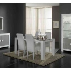 Table de salle à manger rectangulaire design laquée blanche et grise Ancone
