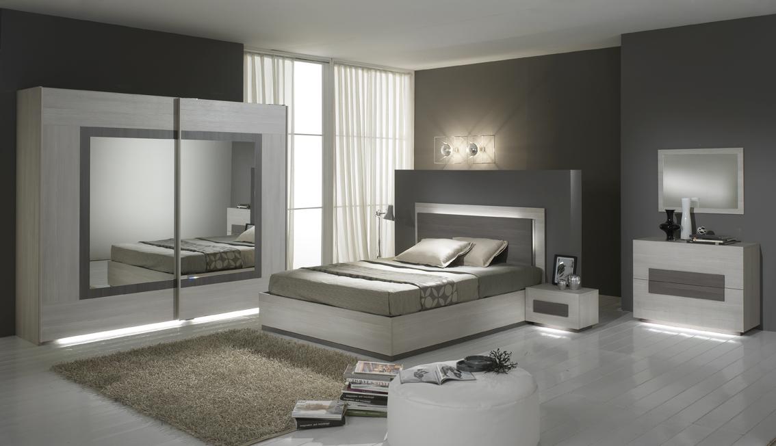 Chambre adulte complète contemporaine chêne blanchi blanche Sierra ...