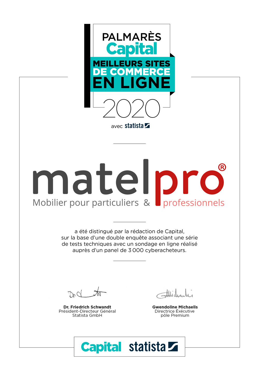 Matelpro label Capital 2020