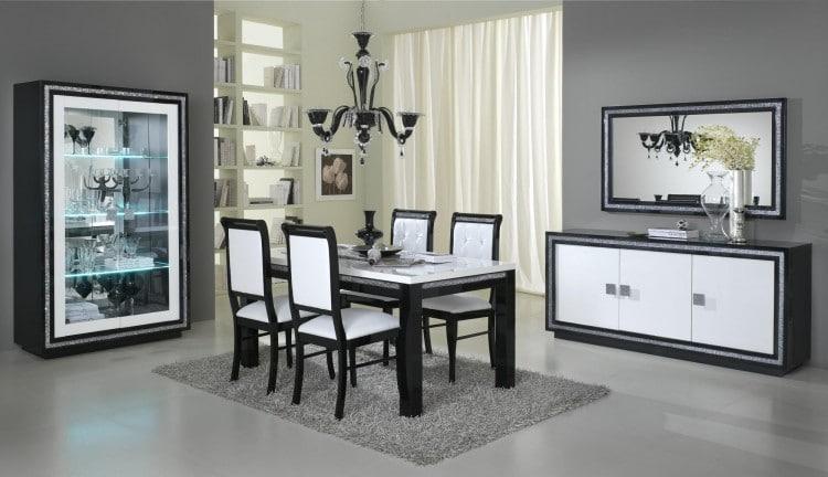 Salle à manger complète design laquée blanche et noire Doria