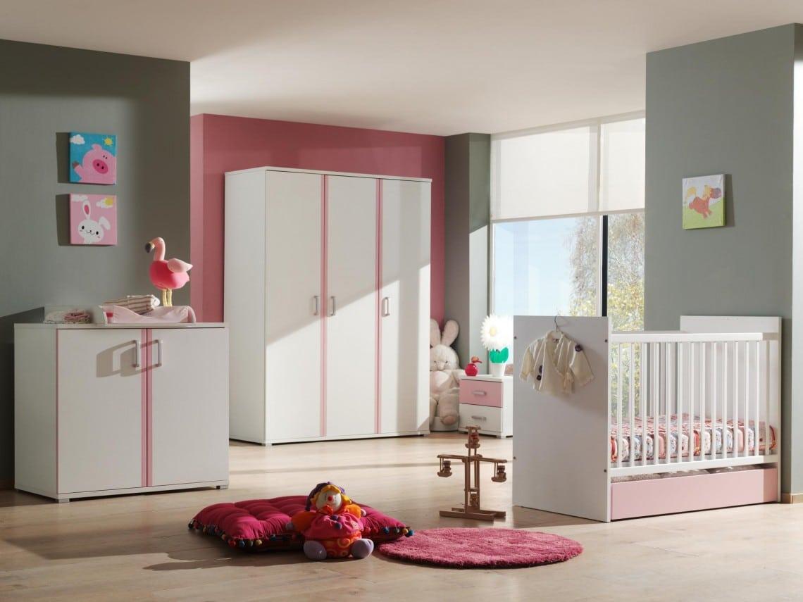 Chambre bébé complète contemporaine blanche et rose Eglantine