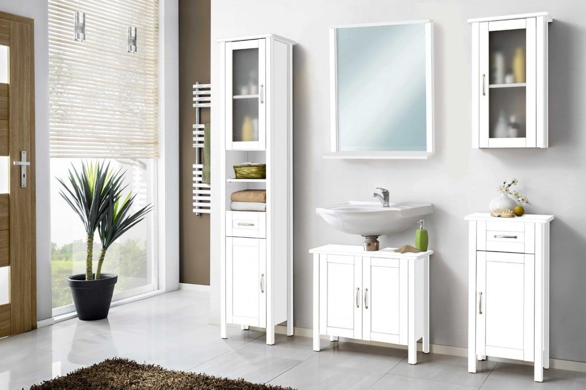 Ensemble de salle de bain contemporain blanc 5 éléments Roza