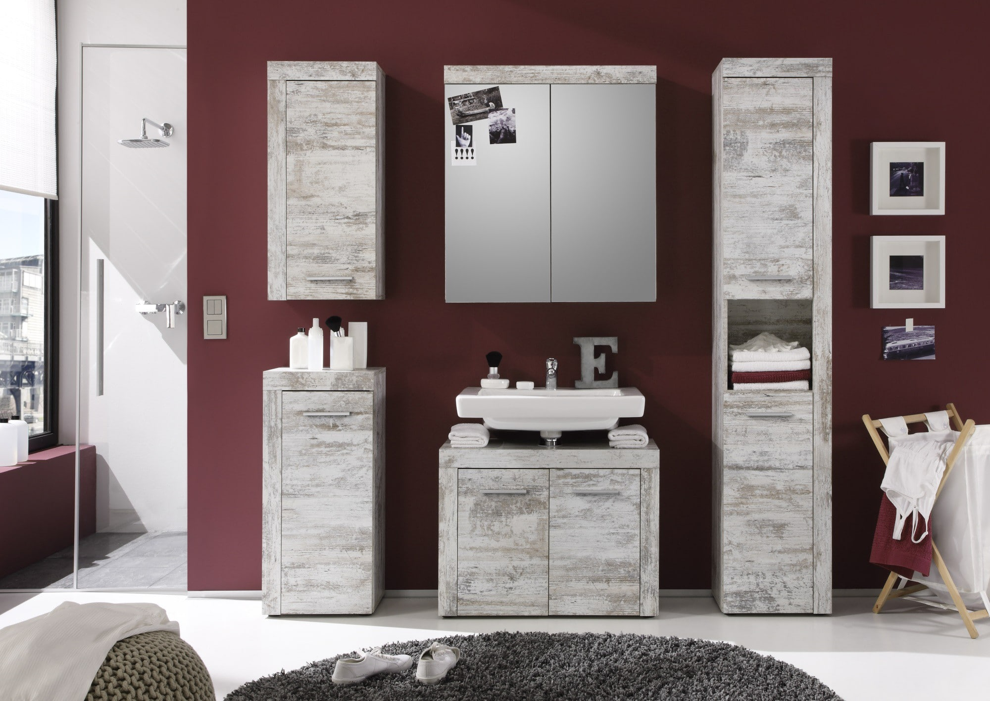 Ensemble de salle de bain contemporain coloris canyon blanc Cancale