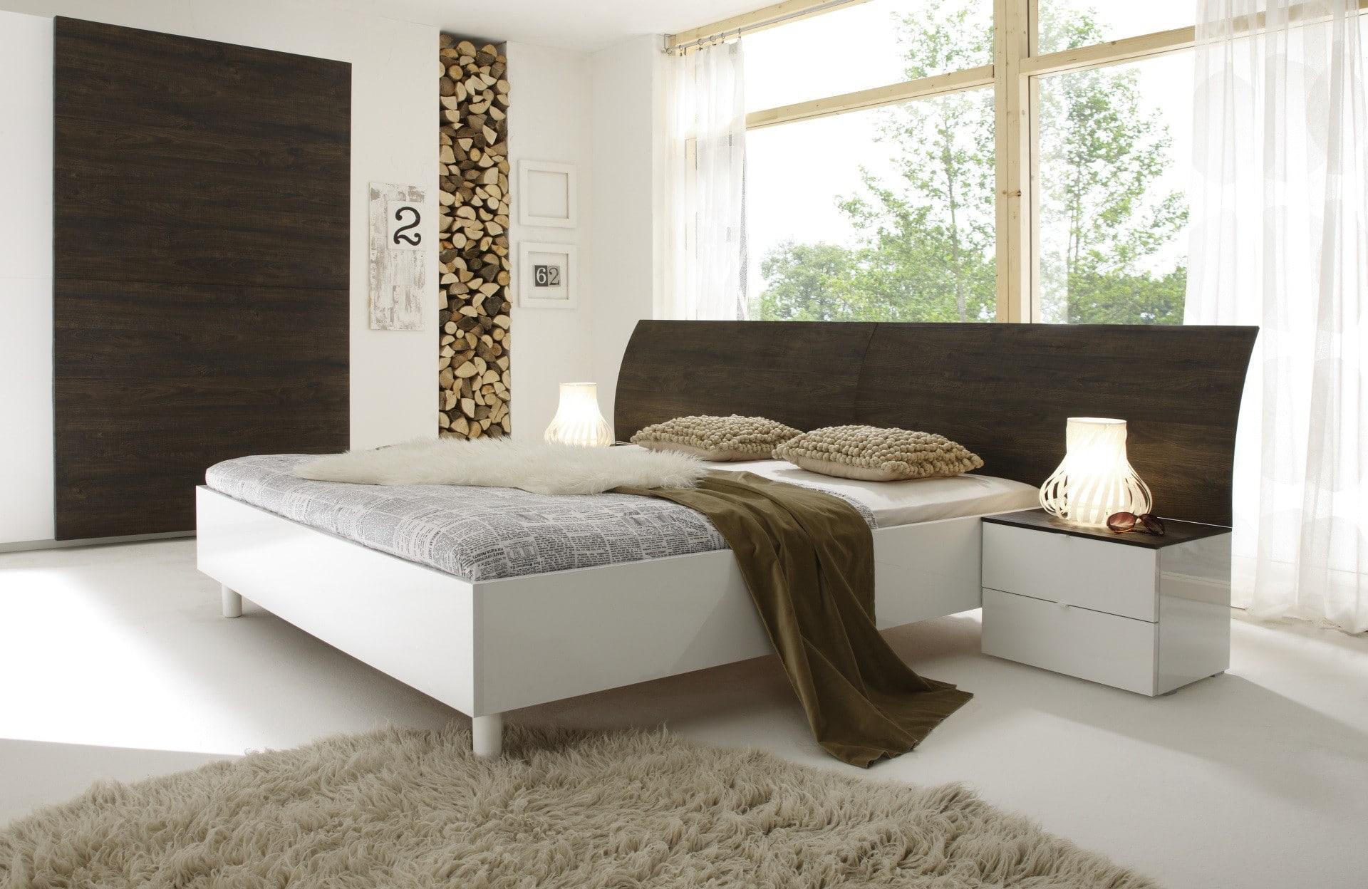 Chevets design 2 tiroirs wengé/blanc laqué Ténérif