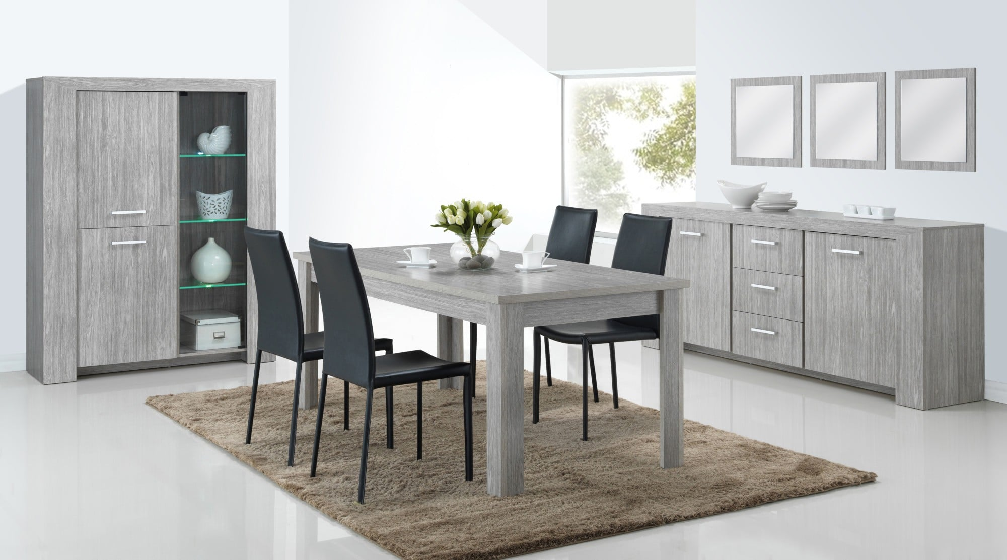 salle a manger moderne avec table ronde. Black Bedroom Furniture Sets. Home Design Ideas