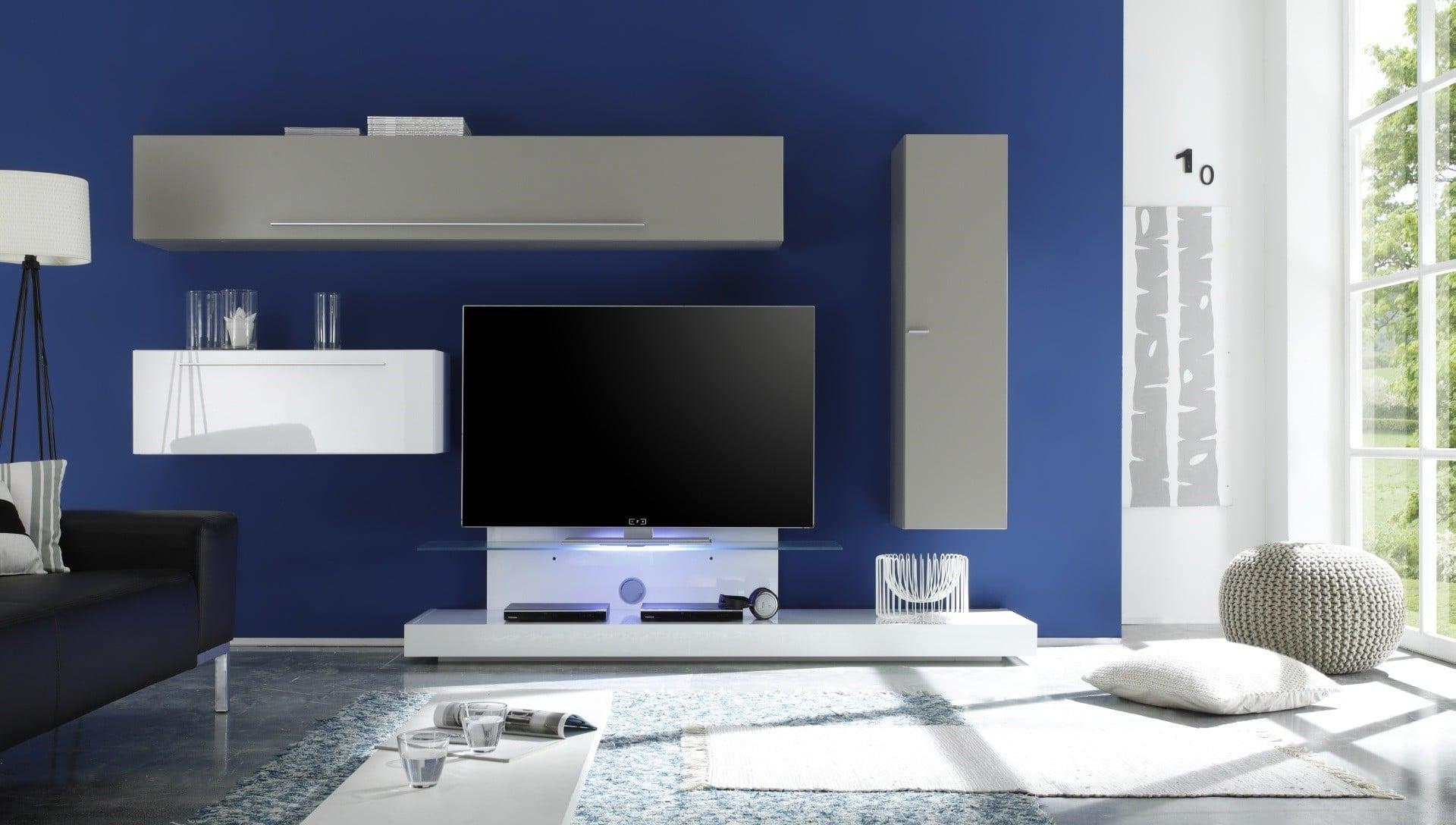 Composition TV murale design blanc laqué/gris mat Osaka
