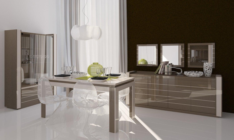 Salle à manger design coloris latte/cappucino brillant Cedrine