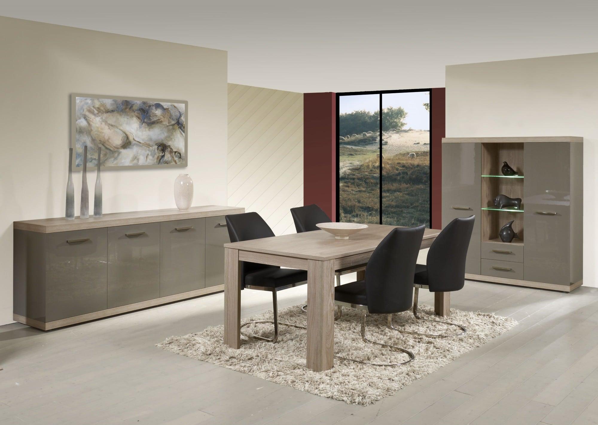Salle à manger complète contemporaine memphis oak/gris laqué Andrea