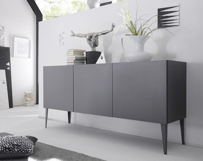 Buffet/bahut design 3 portes gris mat Donatien