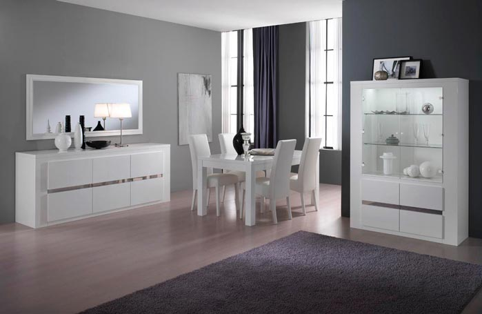 salle manger design complte laque blanche diva