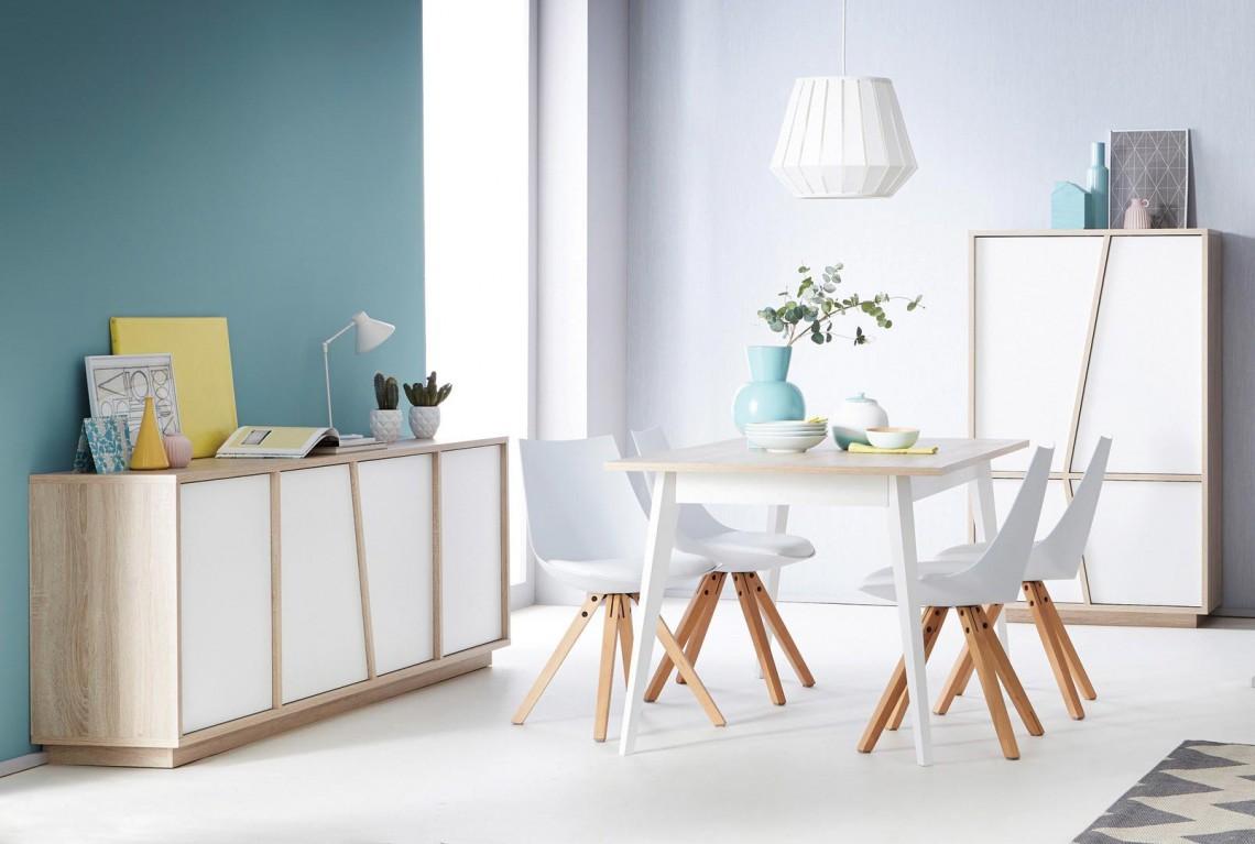 Salle à manger contemporaine chêne/blanc Estonie