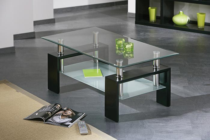 Table basse desgin noir en verre Diana
