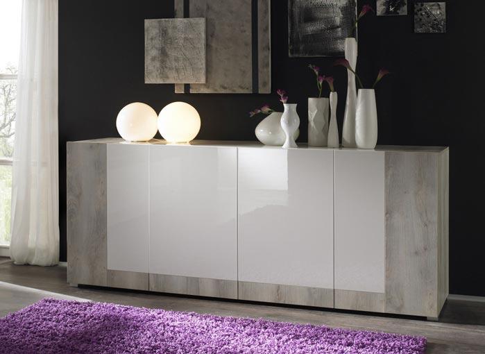Buffet/bahut contemporain 4 portes pin blanc et blanc laqué Maroussia