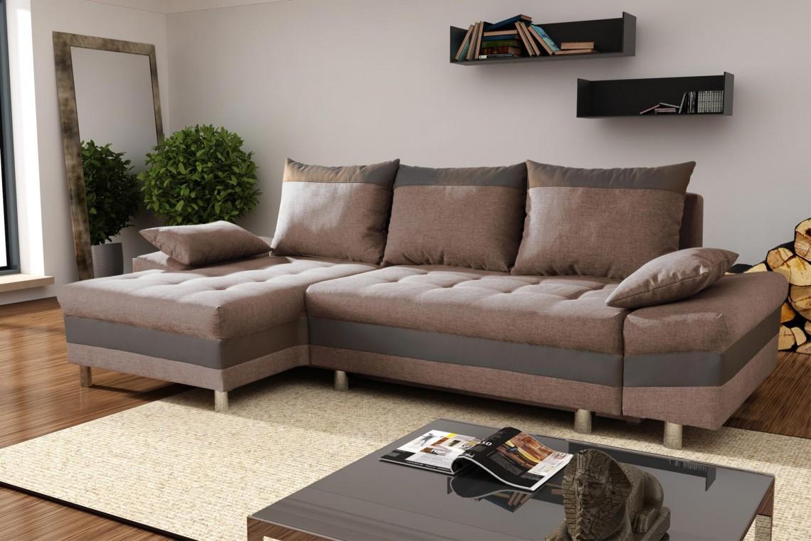 Canapé d'angle convertible contemporain en tissu brun/taupeThibaut