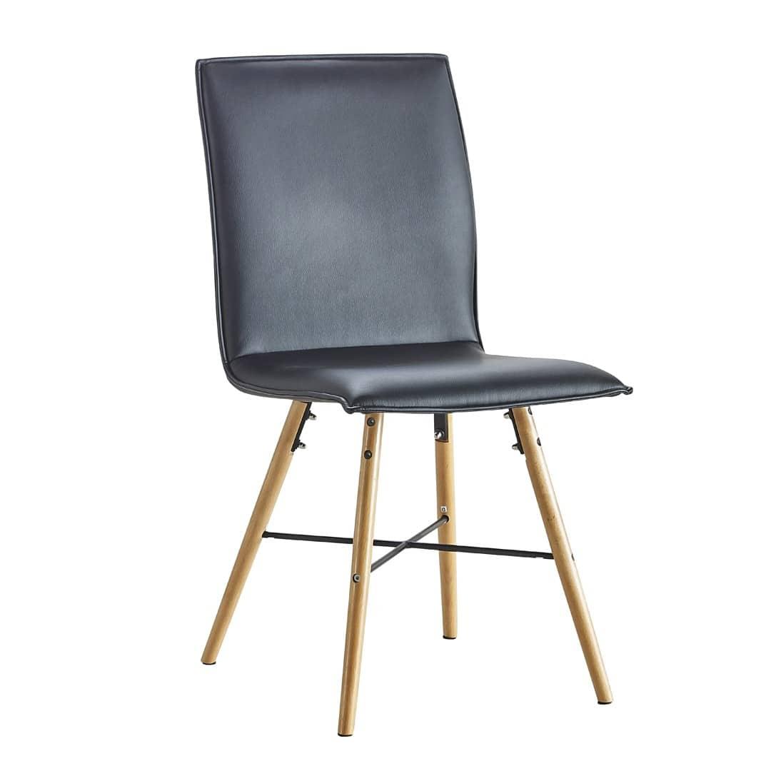 Chaise de salle à manger contemporaine noire (lot de 2) Matheo